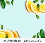 citrus slices and mint herbs... | Shutterstock . vector #1343201762