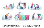 people and children recycle... | Shutterstock .eps vector #1343207045