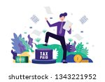 happy business man pedal button ... | Shutterstock .eps vector #1343221952