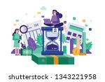 two colleagues analysis tax... | Shutterstock .eps vector #1343221958