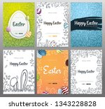 set of happy easter backgrounds ... | Shutterstock .eps vector #1343228828