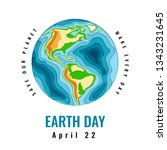 happy world earth day. april 22.... | Shutterstock .eps vector #1343231645