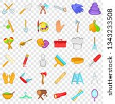 occupation icons set. cartoon... | Shutterstock .eps vector #1343233508