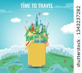 travel composition with famous... | Shutterstock .eps vector #1343237282