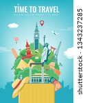 travel composition with famous... | Shutterstock .eps vector #1343237285