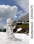 Snowman in Austria melting in the spring thaw - stock photo