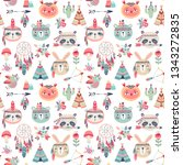 seamless pattern with cute... | Shutterstock .eps vector #1343272835