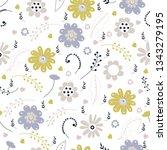 vector floral pattern in doodle ... | Shutterstock .eps vector #1343279195