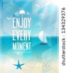 Seaside view poster. Vector background. | Shutterstock vector #134329376