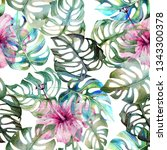 seamless watercolor pattern of... | Shutterstock . vector #1343300378