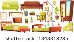 living or bedroom object set... | Shutterstock .eps vector #1343318285