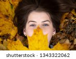top view of a cute girl with... | Shutterstock . vector #1343322062
