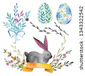 set of easter elements. gray... | Shutterstock . vector #1343322542
