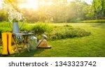 gardening tools and flowers in... | Shutterstock . vector #1343323742