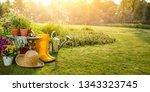 gardening tools and flowers in... | Shutterstock . vector #1343323745