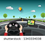 steering wheel   driving car... | Shutterstock .eps vector #1343334038