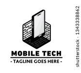 mobile tech logo. vector and... | Shutterstock .eps vector #1343338862