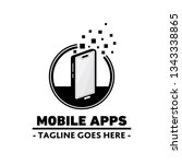 mobile apps logo. vector and... | Shutterstock .eps vector #1343338865