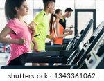healthy woman on treadmill at...   Shutterstock . vector #1343361062