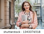 attractive stylish smiling... | Shutterstock . vector #1343376518