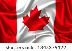 canada flag waving in the wind.... | Shutterstock . vector #1343379122
