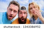 friends shocked faces looking... | Shutterstock . vector #1343386952
