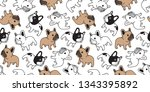 dog seamless pattern french... | Shutterstock .eps vector #1343395892