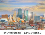 view of kansas city skyline in... | Shutterstock . vector #1343398562