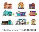 modern cottage houses set.... | Shutterstock .eps vector #1343400008