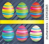 easter colorful eggs ...   Shutterstock . vector #134341865