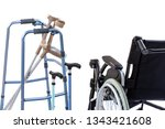 set of mobility aids including... | Shutterstock . vector #1343421608
