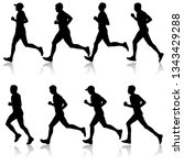 set of silhouettes. runners on... | Shutterstock . vector #1343429288