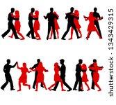 black set silhouettes dancing... | Shutterstock . vector #1343429315