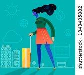 traveling concept banner.... | Shutterstock .eps vector #1343435882