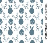 seamless pattern with easter... | Shutterstock .eps vector #1343436908