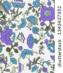 vector floral seamless pattern... | Shutterstock .eps vector #1343437352
