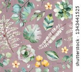 beautiful watercolor seamless... | Shutterstock . vector #1343441525
