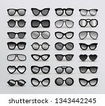 set of black silhouettes of... | Shutterstock .eps vector #1343442245