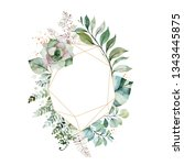 watercolor green illustration... | Shutterstock . vector #1343445875