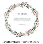 floral wreath with green...   Shutterstock .eps vector #1343453072