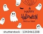 happy halloween greeting card... | Shutterstock .eps vector #1343461208