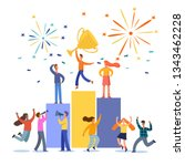 people stand on the podium... | Shutterstock .eps vector #1343462228