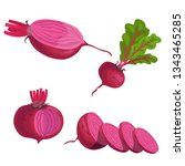 beet roots set. whole different ... | Shutterstock .eps vector #1343465285