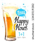 happy hours poster. watercolor... | Shutterstock . vector #1343519282