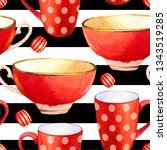 seamless background. tea party... | Shutterstock . vector #1343519285
