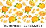fun summer pattern with oranges ... | Shutterstock . vector #1343522675