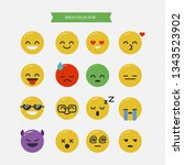a collection of emoticons with... | Shutterstock .eps vector #1343523902