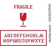 cargo cardboard box fragile... | Shutterstock .eps vector #1343529542