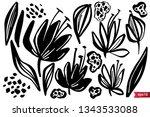 vector set of ink drawing herbs ... | Shutterstock .eps vector #1343533088