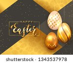lettering happy easter with... | Shutterstock .eps vector #1343537978